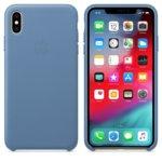 Калъф за iPhone XS Max, Apple Leather Case - Cornflower, кожен, син image