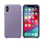 Калъф за iPhone XS, Apple Leather Case - Lilac, кожен, лилав image