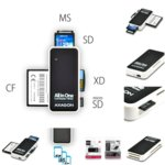 Четен за карти AXAGON CRE-X1, USB 2.0/USB 1.1, SD/SDHC/SDXC/MMC/MMC mobile/RS-MMC/miniSD/miniSDHC/MMC/Micro adapter, черен/бял image