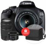 """Фотоапарат Canon EOS 2000D(черен) в комплект с обективи EF-s 18-55mm f/3.5-5.6 IS II и EF 50mm f/1.8 STM и подарък калъф Canon Shoulder SB100, 24.1 MPix, 3.0""""(7.62cm) TFT дисплей, Wi-Fi, NFC, SD/SDHC/SDXC слот, USB, HDMI Mini(Type-C)  image"""