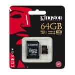 64GB microSDXC с адаптер, Kingston Gold, Class 10, UHS-I Class 3, скорост на четене 90MB/s, скорост на запис 45MB/s image