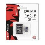 16GB microSDHC, с SD адаптер, Kingston, Class 4, скорост на четене 4MB/s, скорост на запис 4MB/s image