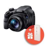 """Фотоапарат Sony Cyber Shot DSC-HX350 (черен) с подарък външна батерия Sony CP-V3(бяла), 50x оптично увеличение, 20,4 Mpix, 3.0"""" (7.62cm) LCD дисплей, micro HDMI, micro USB, SDXC слот image"""