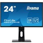 """Монитор Iiyama ProLite XB2474HS-B2, 23.6"""" (59.94 cm) VA панел, Full HD, 4ms, 15000000:1, 250 cd/m2, DisplayPort, HDMI, VGA image"""
