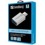 Преходник Sandberg SNB-136-24, от USB C(м) към USB A(ж), сребрист image