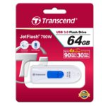64GB Transcend JetFlash 790, USB 3.1, бял