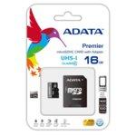 Карта памет 16GB microSDHC, с SD адаптер, A-Data Premier, Class10 UHS-I, скорост на четене 50MB/s, скорост на запис 10MB/s image
