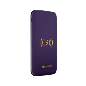 Външна батерия /power bank/ Canyon CNS-TPBW8B, 8000 mAh, USB Type C, Micro USB Type B, лилаво, с безжично зарядно image