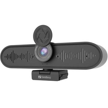 Видеоконферентна камера Sandberg All-in-1 ConfCam 4K 4Mic 134-24, 4K UHD, MJPG/YUY2, 2x вграден високоговорител 2W, USB 3.0, черна image
