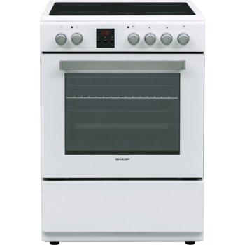 Готварска печка Sharp KF-76FVDD22WM-CH, енергиен клас A, 4 нагревателни зони, 65 л. обем, 8 функции, цифров таймер, бяла image