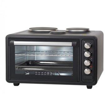 Готварска печка Zephyr ZP 1441 M40, 2 броя нагревателни зони, 40 л. обем на фурната, 3 степени на мощност, 3800W, черна image
