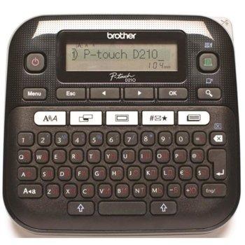 Етикетен принтер Brother PT-D210, LCD дисплей, ширина на етикета 3.5, 6, 9 и 12мм, скорост 20 мм/сек, QWERTY клавиатура, с кирилица image