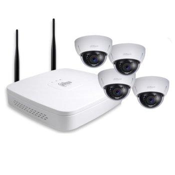 Комплект 4x IP камери и рекордер Dahua DH-KIT/NVR4104-W/4-HDBW1000EP-W-0360B, куполна, 1 Mpix(1280×720@30FPS), 3.6mm обектив, H.264B/H.264/MJPEG, IR осветеност (до 30 метра), IP66, вандалоустойчива IK10, Wi-Fi, 1x 10/100Base-T Ethernet port image
