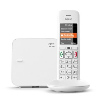 Безжичен телефон Gigaset E370 Шестредов, цветен , вътрешен/външен обхват 300/50м, до 17 часа време за разговори, бял image