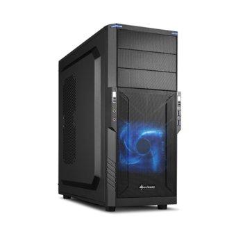Кутия Sharkoon T3-V, Mini-ITX, Micro-ATX, ATX, 2x USB 3.0, геймърска, черна, без захранване image