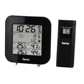 Електронна метеостанция HAMA EWS-200, термометър, тигрометър, черен image