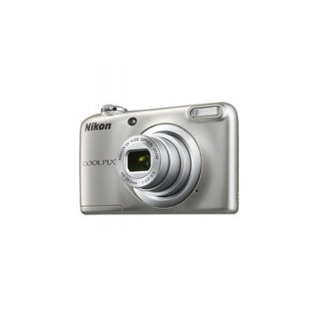 "Фотоапарат Nikon CoolPix A10(сребрист) в комплект с карта памет Nikon SDHC 4GB Class6 и зарядно GP с батерии, 5x оптично увеличение, 16.1 Mpix, 2.7"" (6.8 cm) LCD дисплей, micro USB, SDXC слот image"