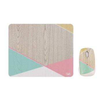 Комплект мишка и пад TnB Scandinave, оптична (1000 dpi), безжична, USB, различни цветове image