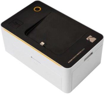 Мобилен принтер Kodak Photo Printer Dock for Android/iPhone KODPD450WEU, цветен термичен фотопринтер, A5 формат, Bluetooth, USB, Wi-fi, бял/черен image
