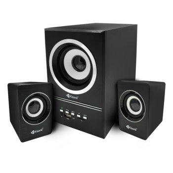 Тонколони Kisonli U-2700BT, 2.1, 11W RMS, Bluetooth/AUX/USB/SD Card, черен image