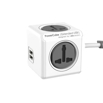 Разклонител Allocacoc Power Cube Universal 10533GY, 4 гнезда, 2x USB, защита от деца, бял/сив, 1.5 м кабел image