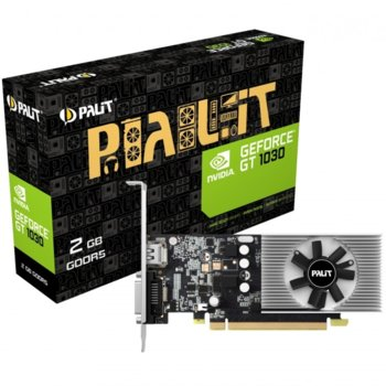 Видео карта GF GT 1030, 2GB, Palit, PCI-E 3.0, GDDR5, 64 bit, HDMI, DVI image