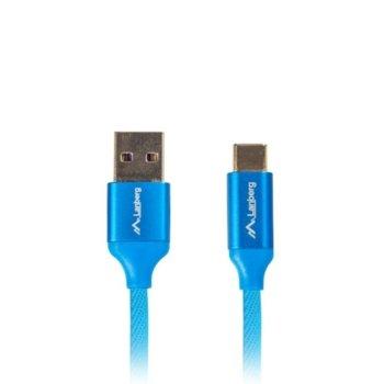Кабел Lanberg CA-USBO-21CU-0005-BL, от USB Type A(м) към USB Type C(м), 0.5m, син image
