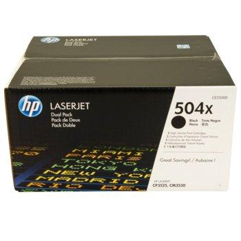 КАСЕТА ЗА HP LASER JET CM3530/CP3525 - Black- Twin pack - P№ CE250XD - заб.: 2x10500k image