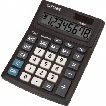 Калкулатор Citizen CMB-801BK, 10-цифрен едноредов LCD дисплей, настолен, корен квадратен, функция на паметта с 4 клавиша: MR, MC, M +, M-, автоматично изключване, черен image