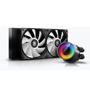 Водно охлаждане DeepCool CASTLE 240 RGB V2, съвместимост със LGA2066/2011-v3/2011/1151/1150/1155/1366 & AMD TR4/AM4/AM3+/AM3/AM2+/AM2/FM2+/FM2/FM1 image