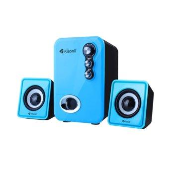 Тонколони Kisonli U-2100, 2.1, 11W(2x 3W + 1x 5W), USB, 3.5мм жак, сини image