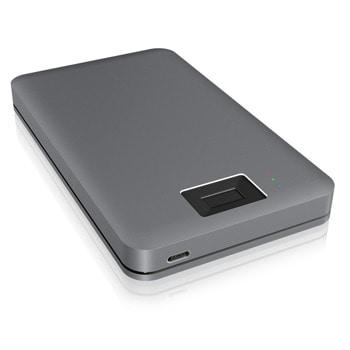 """Кутия 2.5"""" (6.35 cm) RaidSonic IB-182aMU3, за SSD/HDD, SATA III, USB 3.0 Type-C, защита с пръстов отпечатък, сива image"""