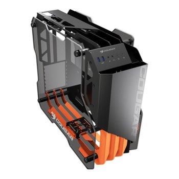 Кутия Cougar BLAZER ESSENCE, ATX/Micro ATX/Mini ITX, 2x USB 3.0, черна, отворен дизайн, закалено стъкло, без захранване image