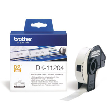 ЛЕНТА ЗА ЕТИКЕТНИ ПРИНТЕРИ BROTHER ТИП QL - MULTI PURPOSE LABEL - 17mm x 54mm x 400 - P№DK11204 image