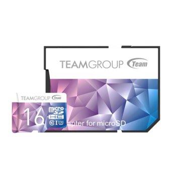 Карта памет 16GB microSDHC, Team Group Color Card II, Class10, UHS-I U3, скорост на четене 90MB/s, скорост на запис 45MB/s, с SD адаптер image