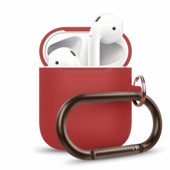 Калъф за слушалки Elago Hang Silicone Case EAPSC-HANG-RD, за Apple AirPods, силиконов, червен image