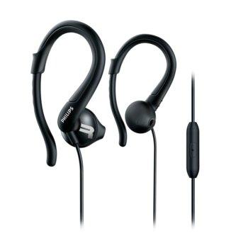 """Слушалки Philips ActionFit SHQ1255TBK, микрофон, тип """"тапи"""", спортни, скоба за ухо, черни image"""