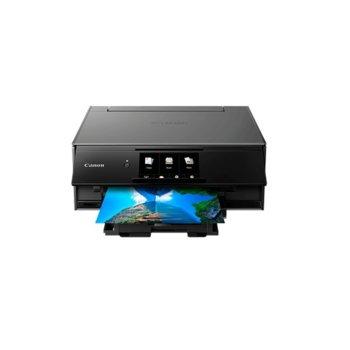 """Мултифункционално мастиленоструйно устройство Canon PIXMA TS9150, цветен принтер/копир/скенер, 4800 x 1200 dpi, 15 стр/мин, USB, Wi-Fi, LAN100, 12.6"""" (30.0 cm) цветен сензорен дисплей, двустранен печат, A4 image"""