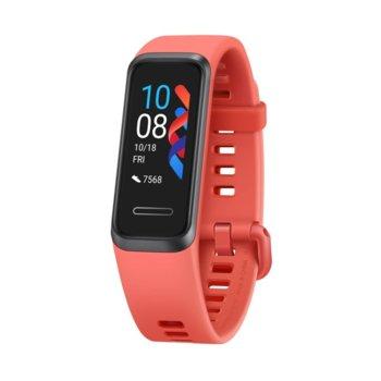 "Смарт гривна Huawei Band 4, 0.96"" (2.43 cm) TFT дисплей, 4GB памет, Bluetooth, водоустойчив, известия обаждания и съобщения, червена image"