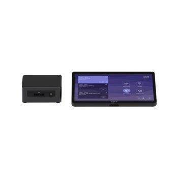 Конферентен комплект Logitech Tap for Microsoft Teams Rooms Base Model, Tap/Room Computer (NUC8I7BEH), конфигурирани миникомпютър, сензорен контролер, черни image
