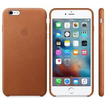Калъф за Apple iPhone 6 Plus/6S Plus, страничен протектор с гръб, естествена кожа, Apple Leather Case, кафяв image