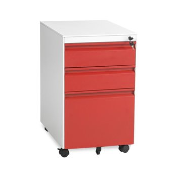 Офис контейнер Carmen CR-1249 L SAND, 3 бр. чекмеджета, метален, сив/червен image