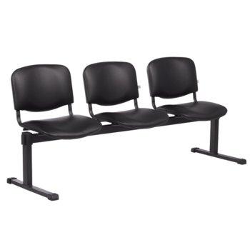 Пейка Carmen 1160-3, 3x стола, Еко кожа, до 130 кг., черна image