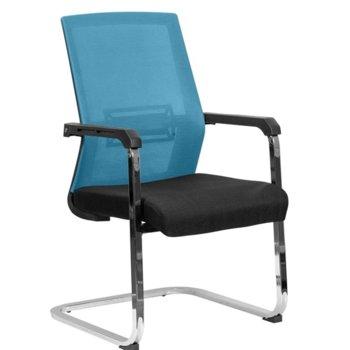 Посетителски стол RFG Roma M, дамаска и меш, черна седалка, светло синя облегалка image