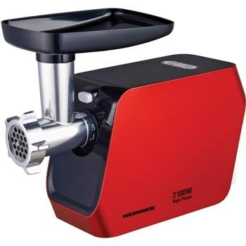 Месомелачка Heinner MG-2100RD, капацитет 1.8 кг/мин, 3 приставки, 2 скорости, нож от неръждаема стомана, 2100W, червена image