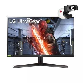 """Монитор LG UltraGear 27GN600-B с подарък камера CyberTrack H4 FHD, 27"""" (68.58 cm) IPS панел, 144Hz, HDR, FHD, 1ms, 350cd/m2, DisplayPort, HDMI image"""