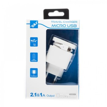TELLUR dual USB+MicroUSB кабел, U2000 - 2.1A, бял product