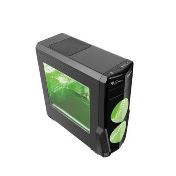 Кутия Genesis Titan 800 Green, ATX, micro-ATX, mini-ITX, 2x USB 3.0, 2x USB 2.0, прозорец, черна, без захранване image