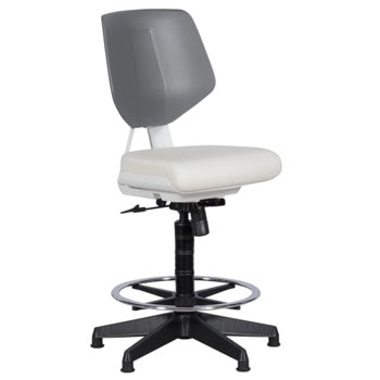 Работен стол Carmen LAB, до 100кг, еко кожа, полипропиленова база, газов амортисьор, коригиране височина, Spring-head механизъм, бял image