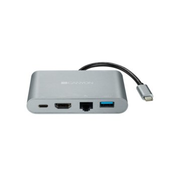 Докинг станция Canyon CNS-TDS04DG, 1x Type C, 1x HDMI (4K,30Hz), 1x RJ45, 2x USB 3.0, сива image